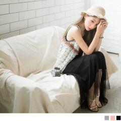 0629新品 網紗拼接造型無袖背心長洋裝.3色