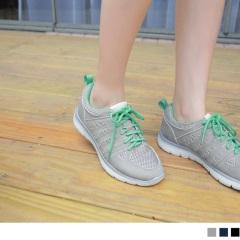 高彈迴力系列~撞色綁帶皮革拼接透氣網布運動鞋.3色