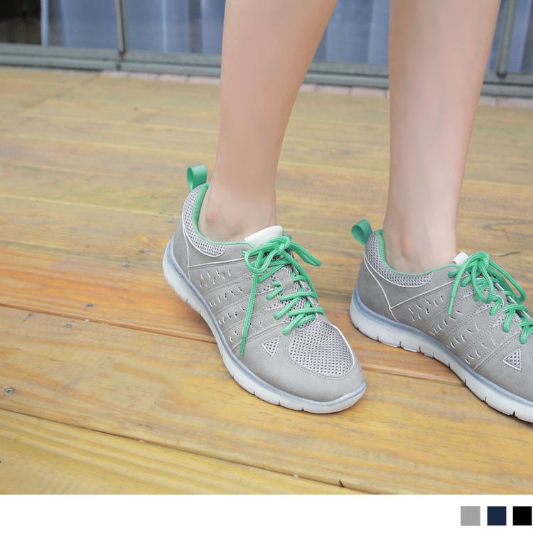 高弹回力系列~撞色绑带皮革拼接透气网布运动鞋.3色