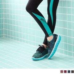 高彈迴力系列~混色花紗透氣網布運動休閒鞋.4色