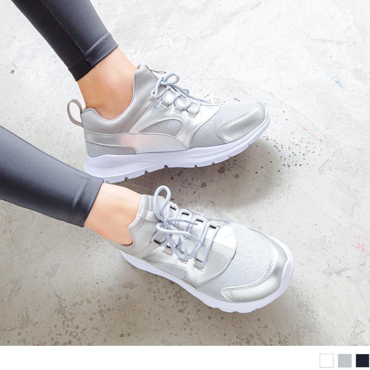 太空羽绒极轻系列~透气网布拼接皮革银葱运动鞋.3色