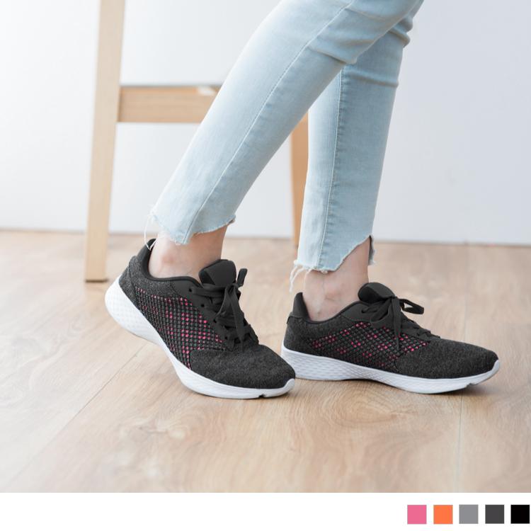 太空羽绒系列~透气网布拼接轻量大底运动鞋.5色