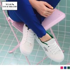 星星造型撞色純白帆布休閒鞋.3色