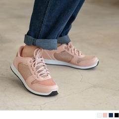 台灣製造~人造皮革拼接金蔥針織布面休閒運動鞋.4色