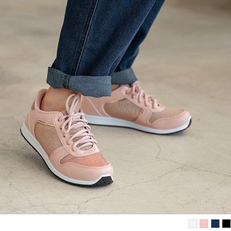 台湾制造~人造皮革拼接金葱针织布面休闲运动鞋.4色