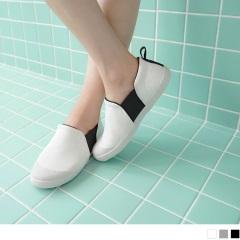 0714新品 台灣製造~透氣布面側邊彈性織帶懶人休閒鞋.3色