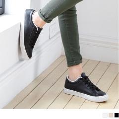 0705新品 台灣製造~人造皮革綁帶素色休閒鞋.3色