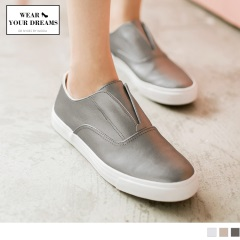 0705新品 台灣製造~金屬感人造皮革懶人休閒鞋.3色