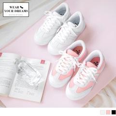 0705新品 台灣製造~拼接仿皮革造型運動休閒鞋.2色