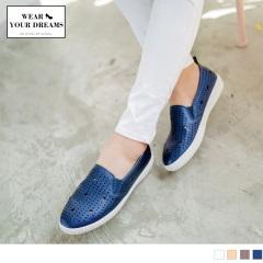 0619新品 鏤空點點星星柔軟仿皮革懶人鞋.3色