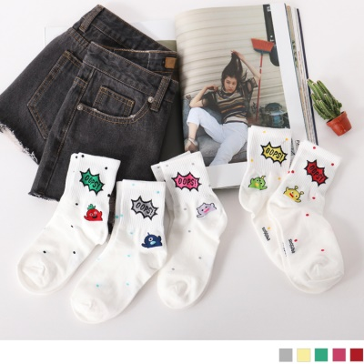 0609新品 【特價款】韓國撞色點點童趣風英文字圖案短筒襪.5色