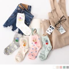 0609新品 【特價款】韓國撞色點點綴動物水果圖案短筒襪.5色