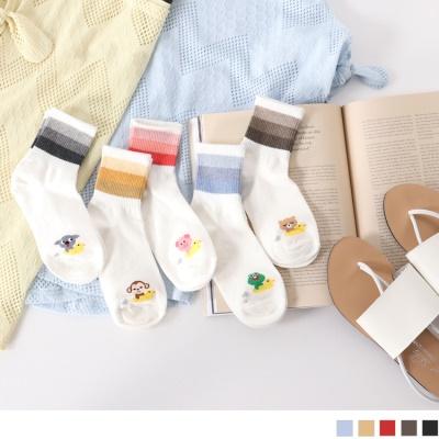 0609新品 【特價款】韓國漸層色綴可愛動物圖案短筒襪.5色