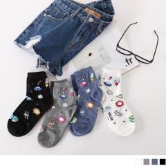 0609新品 【特價款】韓國繽紛外太空印花短筒襪.4色