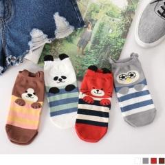 0609新品 【特價款】韓國立體耳朵造型動物綴橫條圖案船型襪.4色