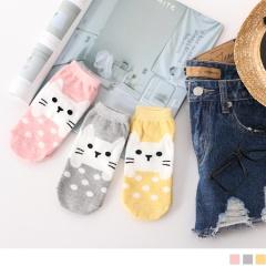 0619新品 【特價款】韓國可愛貓咪綴點點圖案船型襪.3色