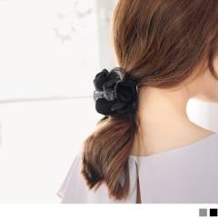 0620新品 【特價款】氣質花朵造型鑲晶鑽圓珠髮圈.2色