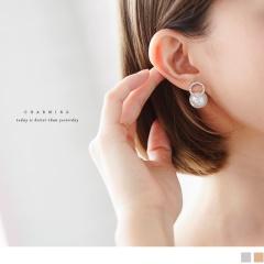 0705新品 【特價款】簡約水鑽綴珍珠設計耳環.2色
