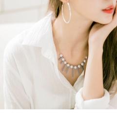 0707新品 【特價款】粉藍豎條綴珍珠短項鍊