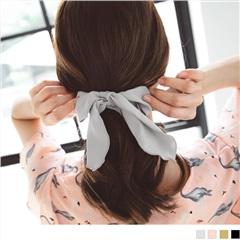 0628新品 【特價款】質感純色甜美蝴蝶結綁帶髮圈.4色