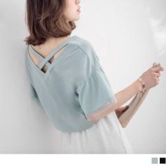 0717新品 V領後交叉袖拼接網布側開衩高含棉上衣‧2色