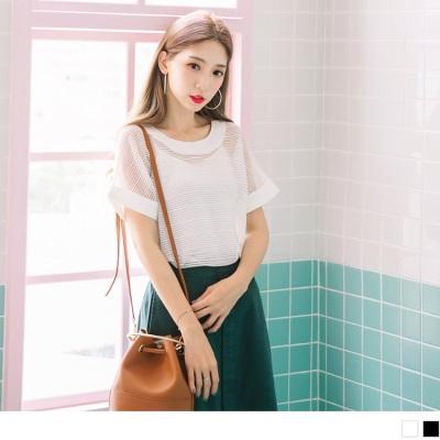 0710新品 純色透膚橫條織紋鏤空背釦反折袖上衣.2色