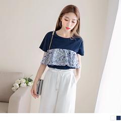 0817新品 純色胸前拼接繽紛一片式花布造型高含棉圓領上衣.2色