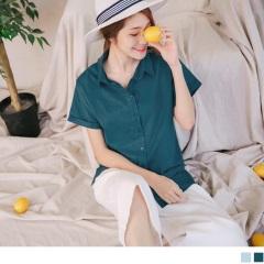 0811新品 質感純色襯衫領排釦反摺連袖造型上衣.2色
