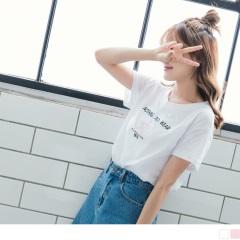 【周末限定♥現折100】台灣製造.星星綴英文拼字圖案竹節棉上衣.2色