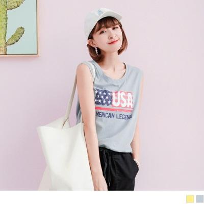 0719新品 美國國旗綴英文拼字燙印無袖高含棉上衣.2色