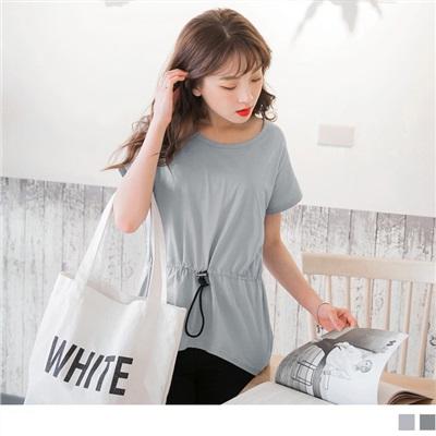 0717新品 質感純色調節抽繩設計傘襬連袖高含棉長版上衣.2色
