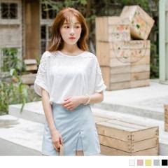 0818新品 純色透光感葉片緹花面料鏤空蕾絲拼肩連袖上衣.5色