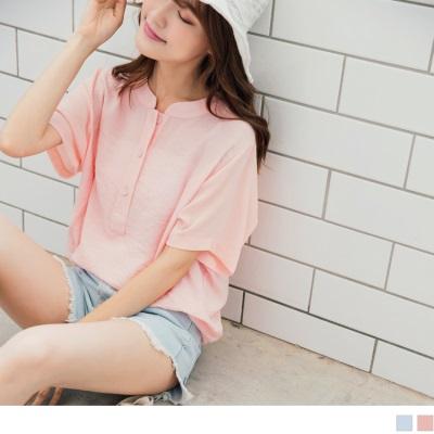 0719新品 純色好感胸前排釦拼接透膚雪紡袖衣襬抓皺圓領上衣.2色