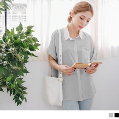 0728新品 撞色襯衫領排釦綴單口袋連袖反摺造型雪紡上衣.2色