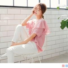 0725新品 質感純色荷葉V領口綴蝴蝶結綁帶造型雪紡上衣.2色