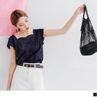 0719新品 浪漫鏤空蕾絲緹花無袖高含棉上衣.2色