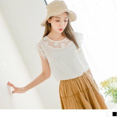 0719新品 質感純色鏤空緹花領拼接布蕾絲袖口造型雪紡上衣.2色
