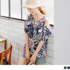 0724新品 繽紛花朵圖案綴荷葉領口挖肩造型上衣.2色