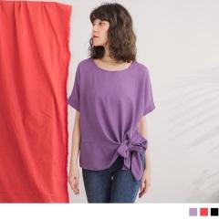0717新品 質感素色腰蝴蝶結造型雪紡上衣‧2色