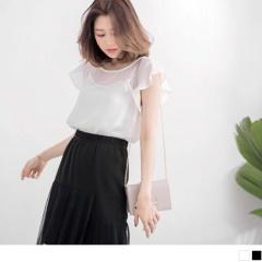 0717新品 質感荷葉袖微光澤拼接透膚雪紡上衣‧2色