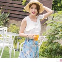 0817新品 質感純色層次蝴蝶結領口造型無袖上衣.2色