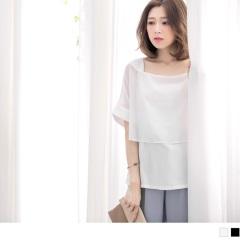 0717新品 雪紡方形領透膚層次拼接短袖上衣.2色