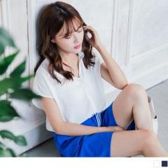 【周末限定♥現折100】質感純色排釦造型連袖雪紡上衣.2色