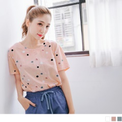 0725新品 質感純色繽紛點點線條圖案含棉彈性落肩上衣.3色
