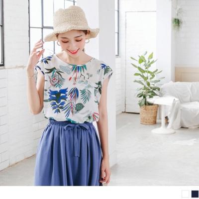 0728新品 繽紛花朵圖案側抓皺造型連袖上衣.2色
