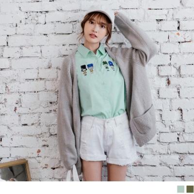 【新品免運】高含棉俏皮外國站崗士兵刺繡圖樣排釦長袖襯衫.2色