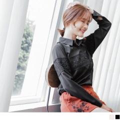 0921新品 質感素面胸前蕾絲設計排釦襯衫上衣.2色