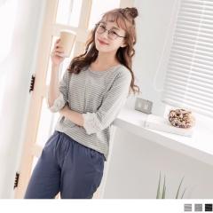 高含棉條紋圓領蕾絲側擺開衩五分袖上衣.3色