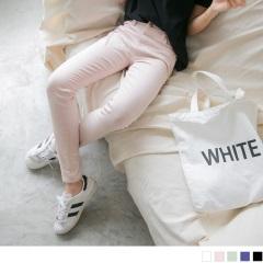0807新品 腰圍鬆緊開釦設計素面多色彈性窄管褲.5色