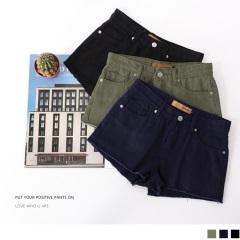 【周末限定♥現折100】抽鬚褲腳純色高含棉斜紋短褲.3色